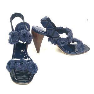 Tory Burch Shoes - Blue Tory Burch Freya slingback Heels Size 10.5